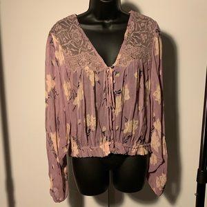 NWOT Free People purple/beige lace long sleeve top